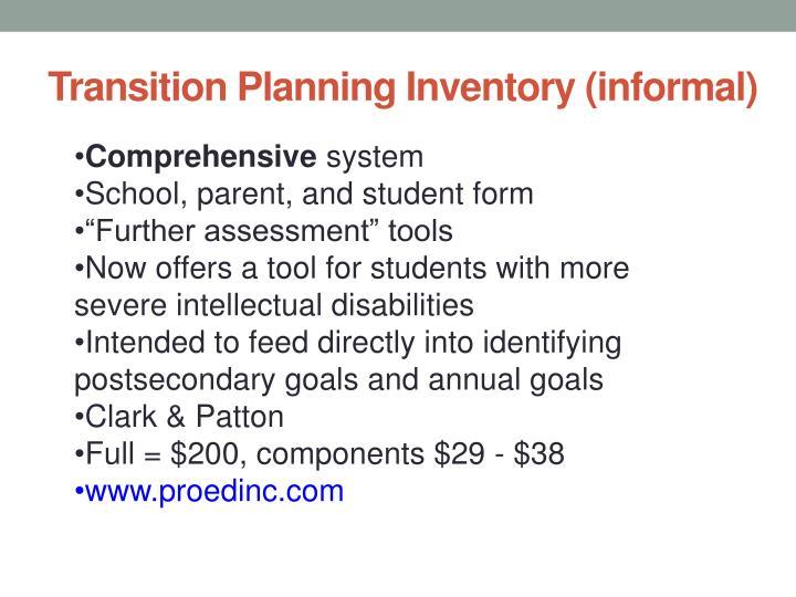 Transition Planning Inventory (informal)