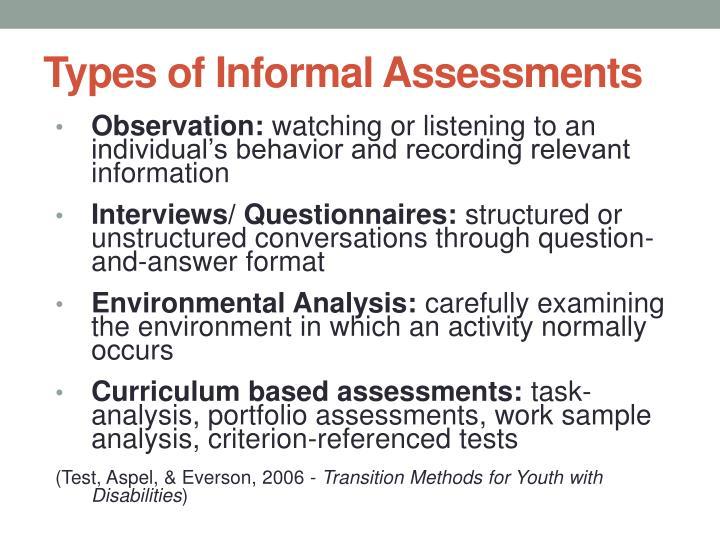 Types of Informal Assessments
