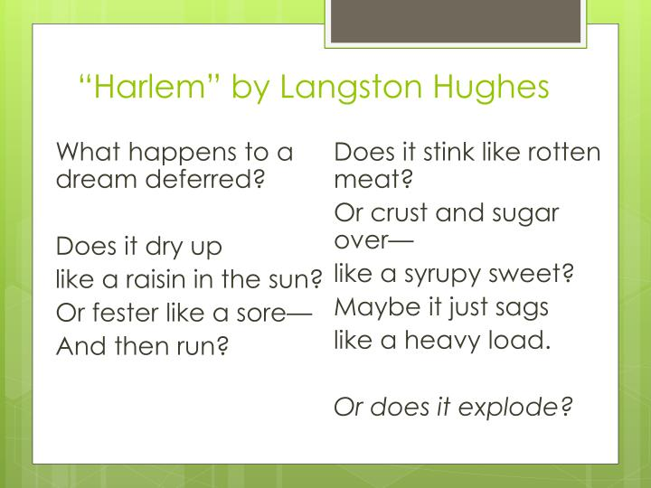 """Harlem"" by Langston Hughes"
