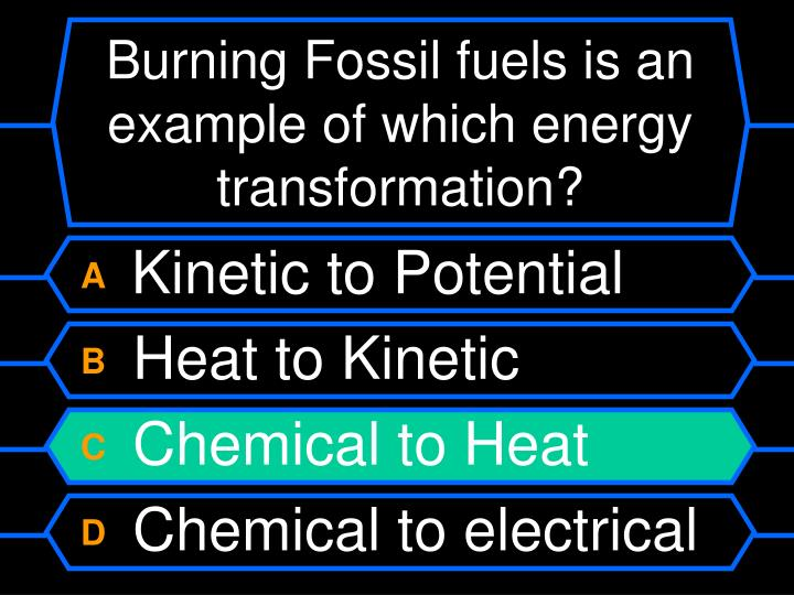 Burning Fossil fuels is an example of which energy transformation?