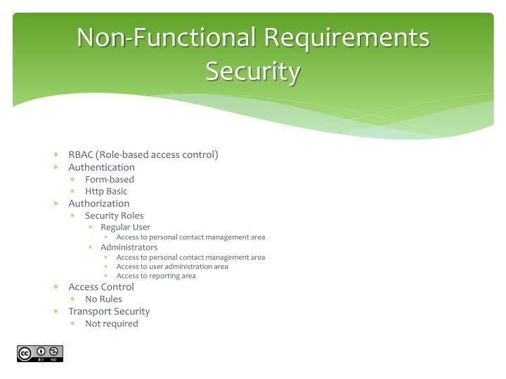 Non-Functional Requirements Security