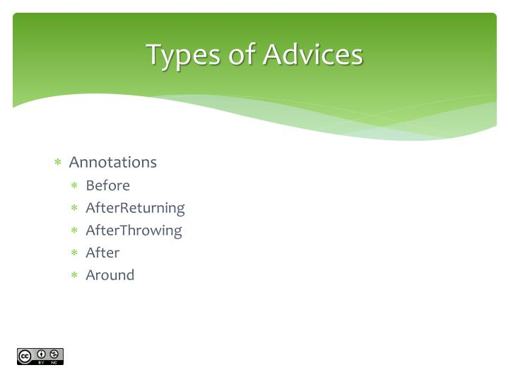 Types of Advices