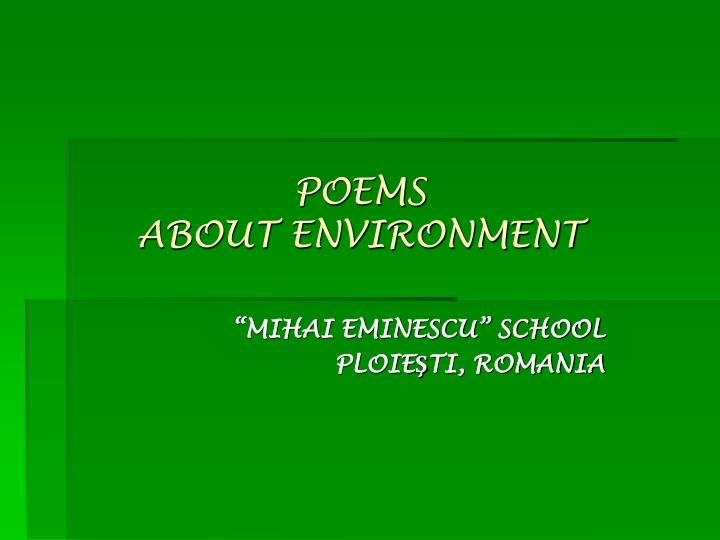 Ppt Poems About Environment Powerpoint Presentation Free