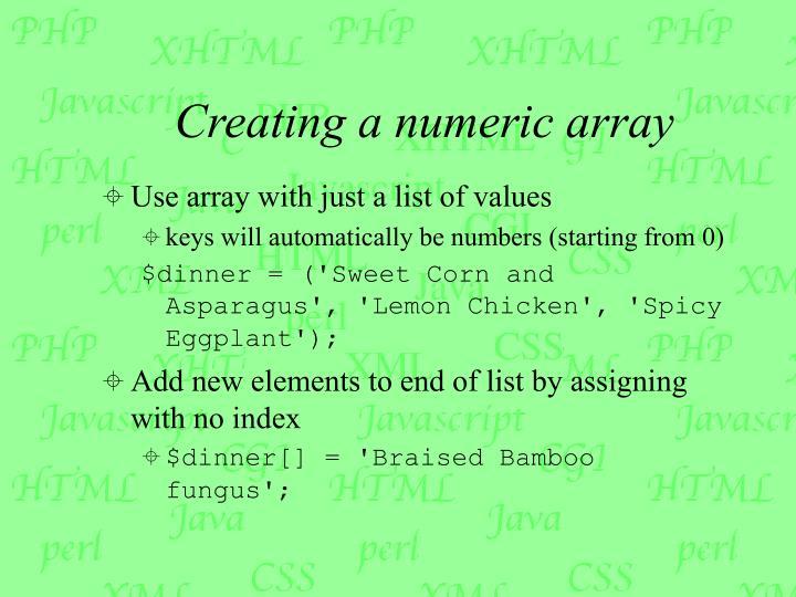 Creating a numeric array
