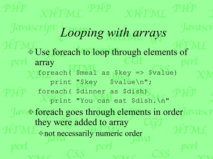Looping with arrays