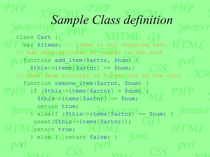 Sample Class definition