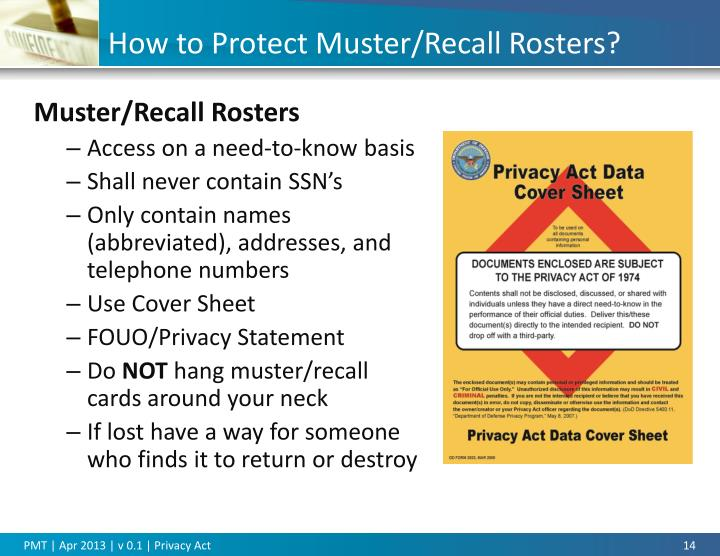 Privacy act cover sheet for Military recall roster template