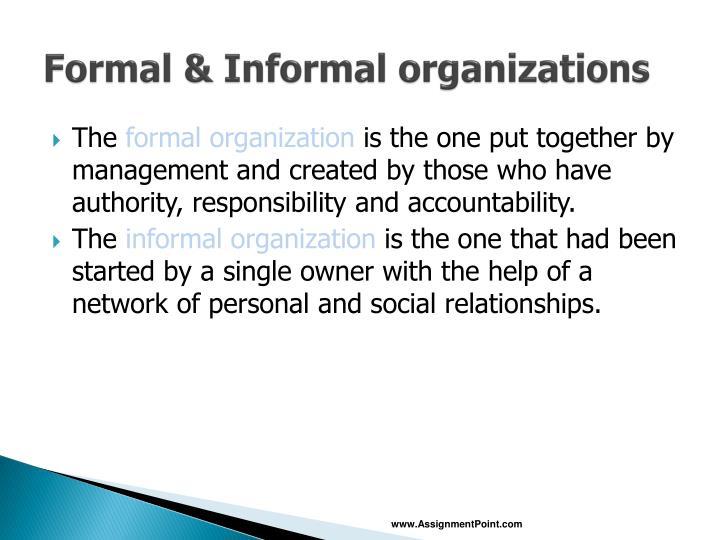 Formal informal organizations