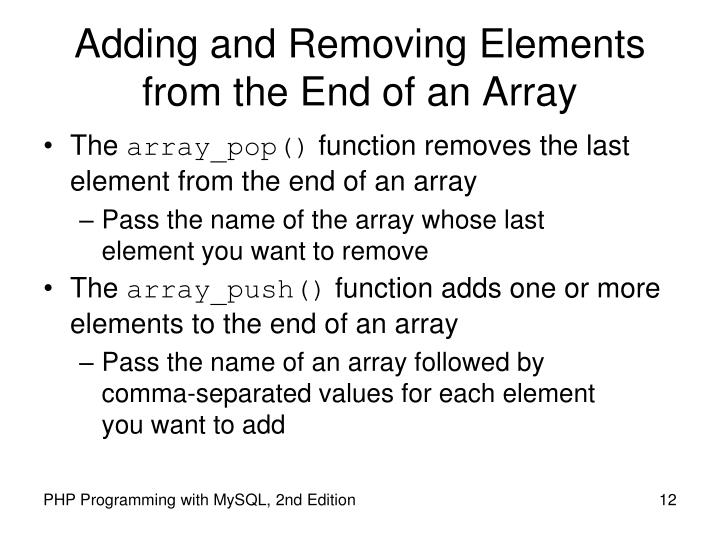 Adding and Removing Elements from the End of an Array
