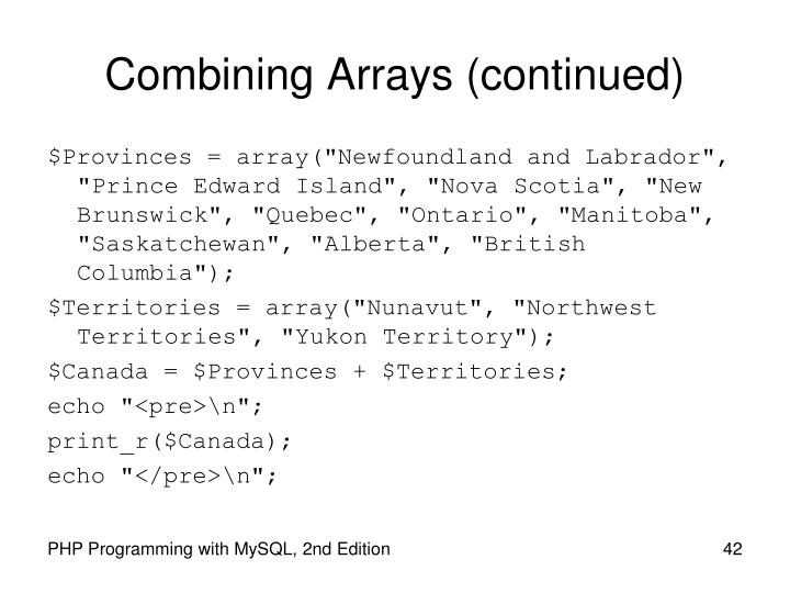 Combining Arrays (continued)
