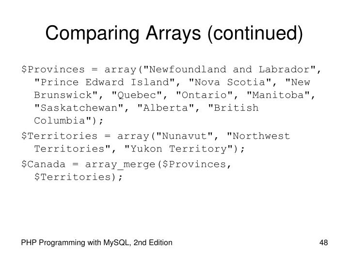 Comparing Arrays (continued)