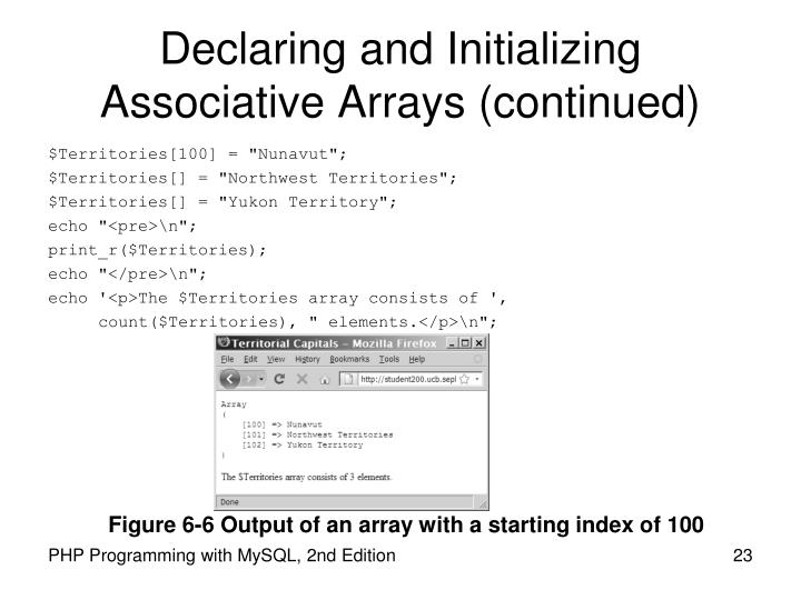 Declaring and Initializing Associative Arrays (continued)