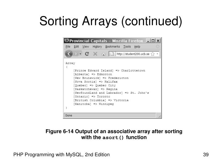 Sorting Arrays (continued)