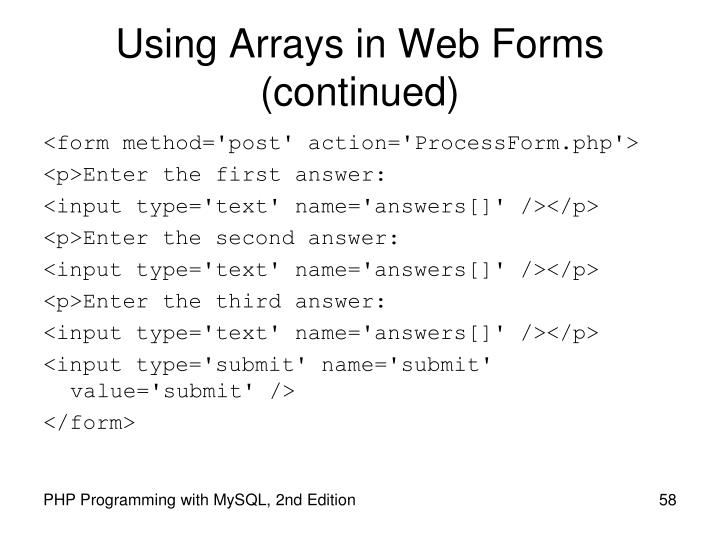 Using Arrays in Web Forms
