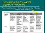 generating the ecological reference worksheet1