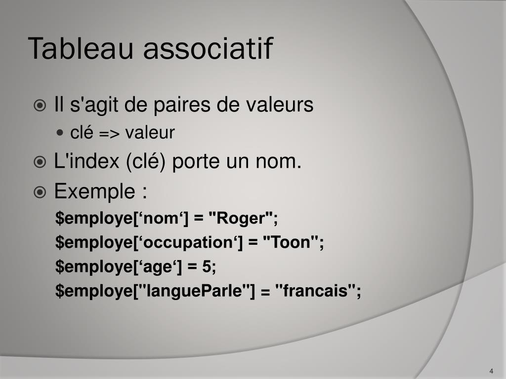 Ppt Php Les Tableaux Powerpoint Presentation Free Download Id 5350244