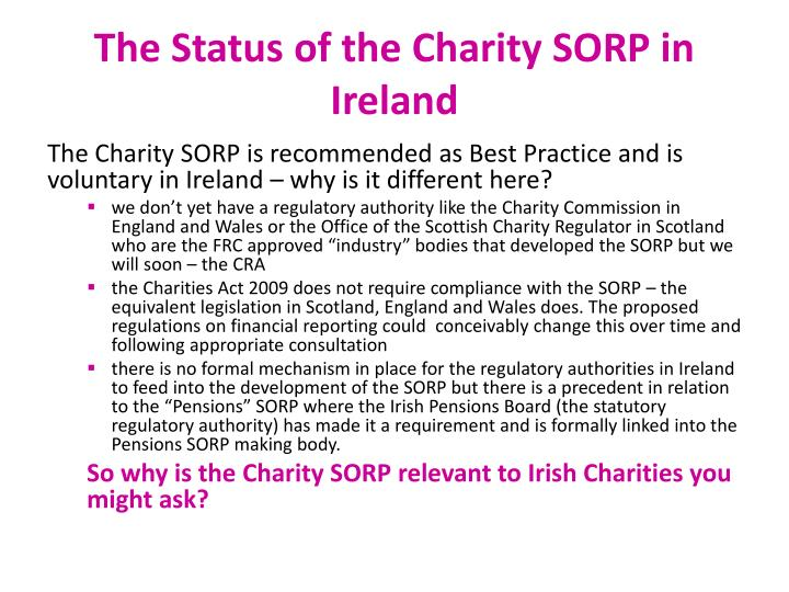 The Status of the Charity SORP in Ireland