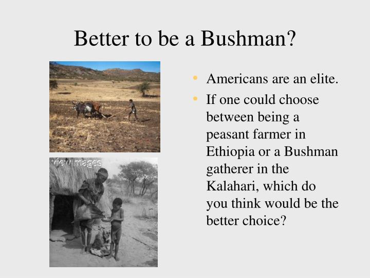 Better to be a Bushman?