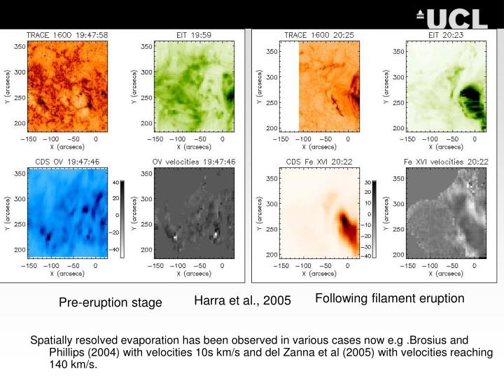 Spatially resolved evaporation has been observed in various cases now e.g .Brosius and Phillips (2004) with velocities 10s km/s and del Zanna et al (2005) with velocities reaching 140 km/s.