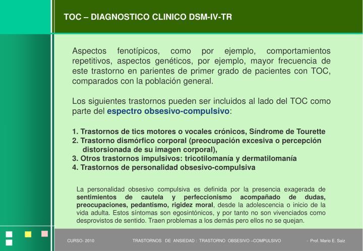 TOC – DIAGNOSTICO CLINICO DSM-IV-TR