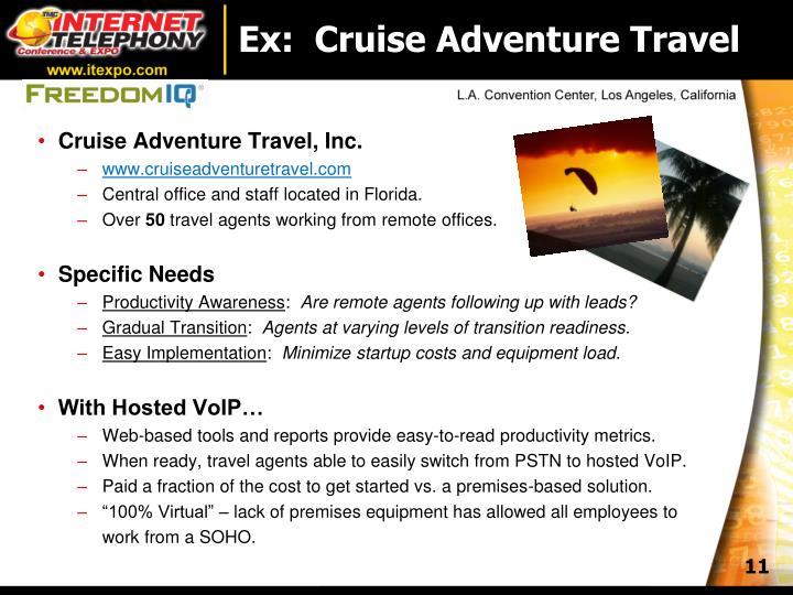 Ex:  Cruise Adventure Travel
