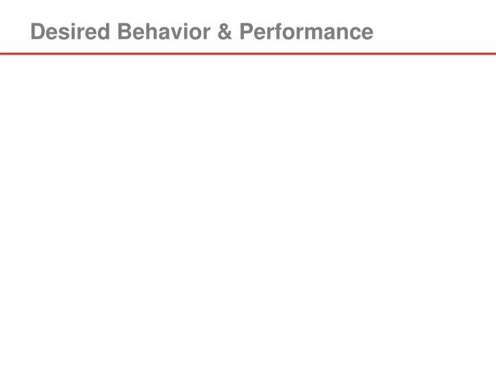 Desired Behavior & Performance