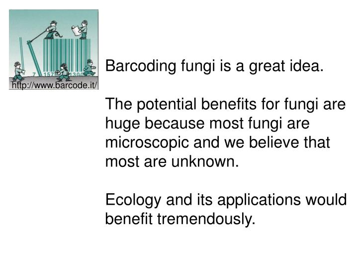 Barcoding fungi is a great idea.