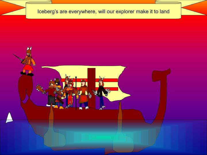 Iceberg's are everywhere, will our explorer make it to land