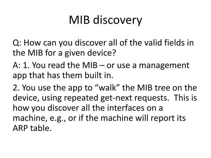 MIB discovery