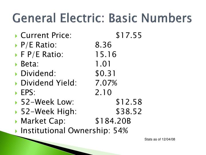 General Electric: Basic Numbers
