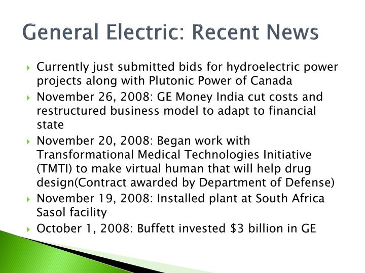 General Electric: Recent News