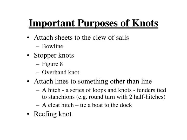 Important Purposes of Knots