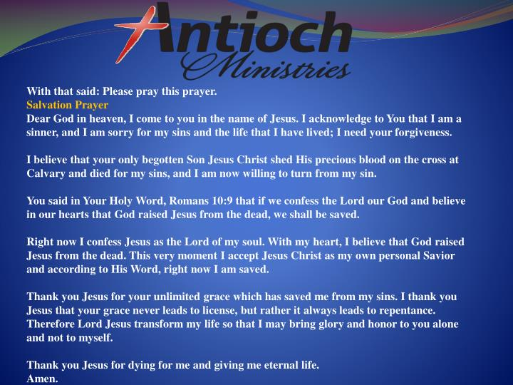 With that said: Please pray this prayer.