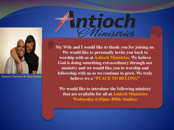 My Wife and I would like to thank you for joining us. We would like to personally invite you back to...