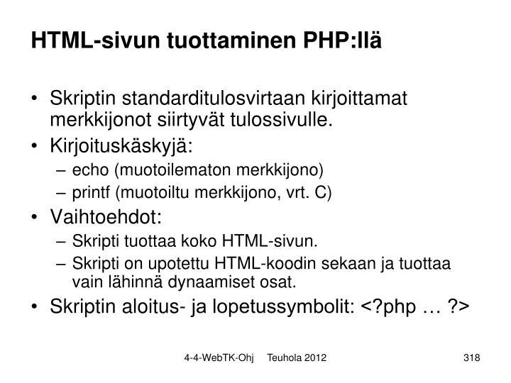 HTML-sivun tuottaminen PHP:llä