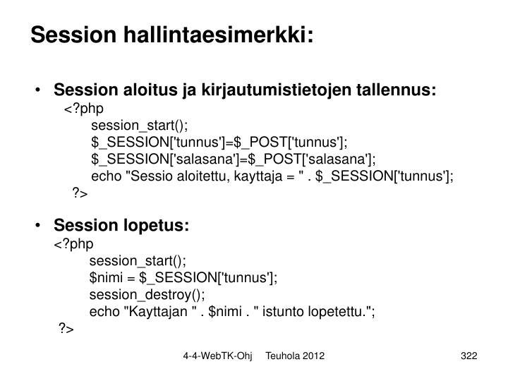 Session hallintaesimerkki: