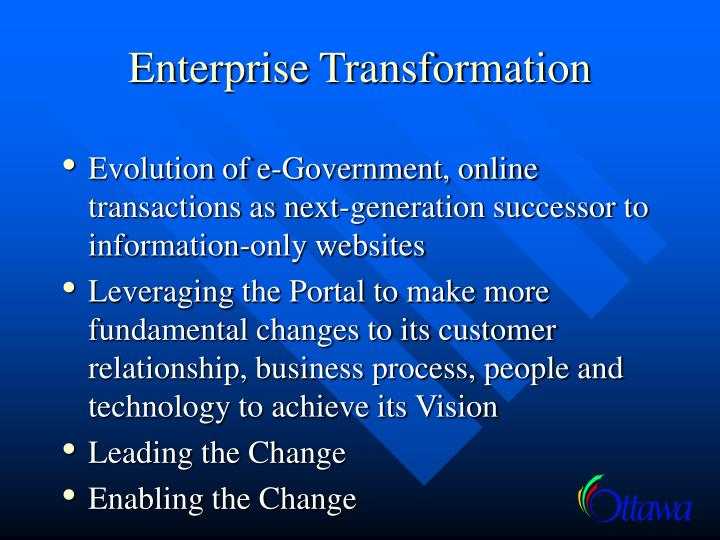 enterprise transformation essay Building blocks of an agile transformation initiating an enterprise -level transformation requires a holistic approach agile transformation program operating model and alignment architecture and devops organization design  deloitte's agile transformation approachpptx author.
