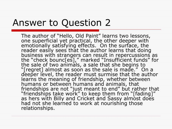 Answer to Question 2