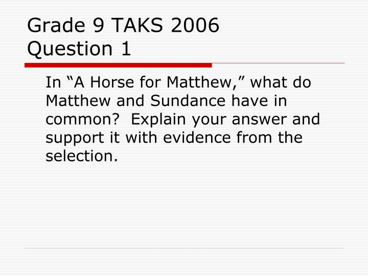 Grade 9 TAKS 2006