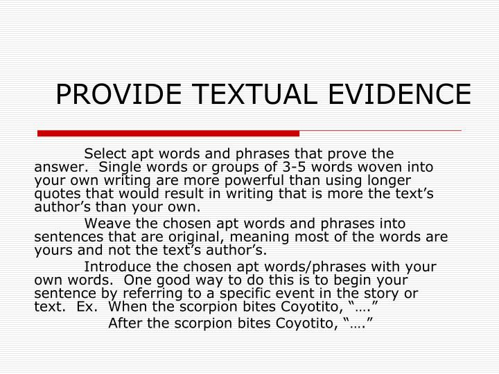 Provide textual evidence