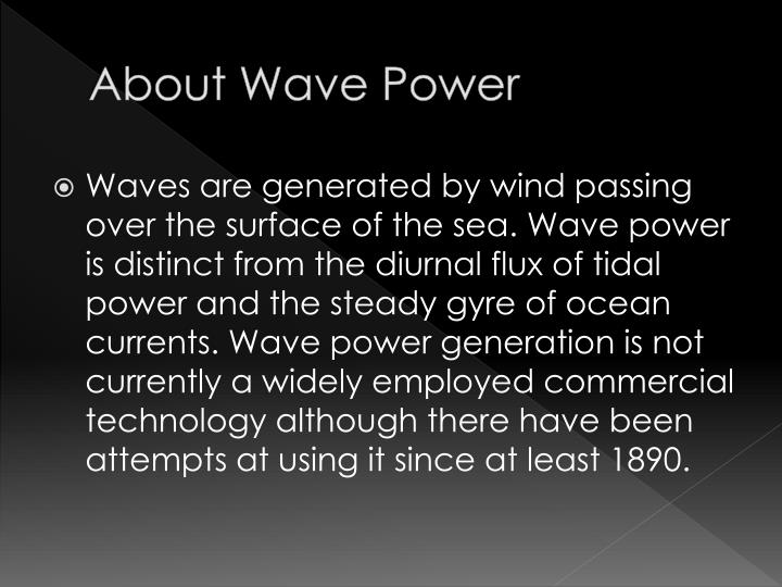 About wave power