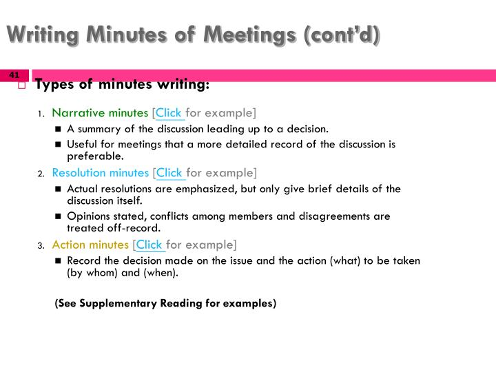 minutes examples for meetings