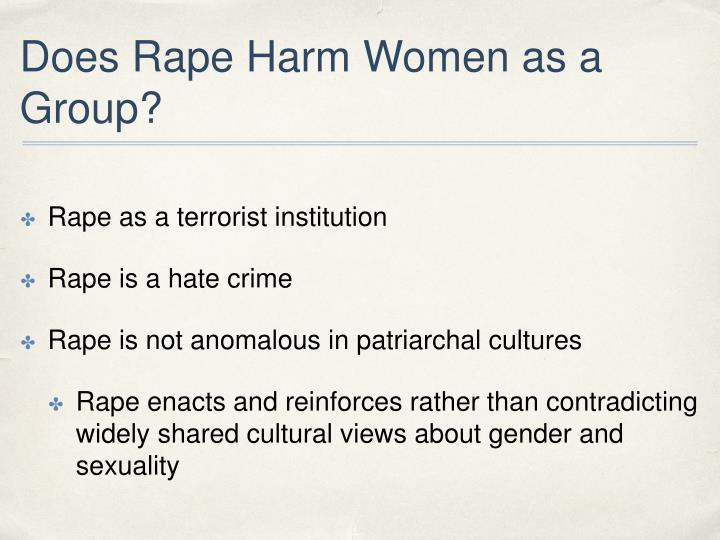 Does Rape Harm Women as a Group?