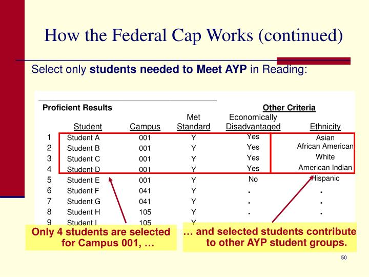… and selected students contribute to other AYP student groups.