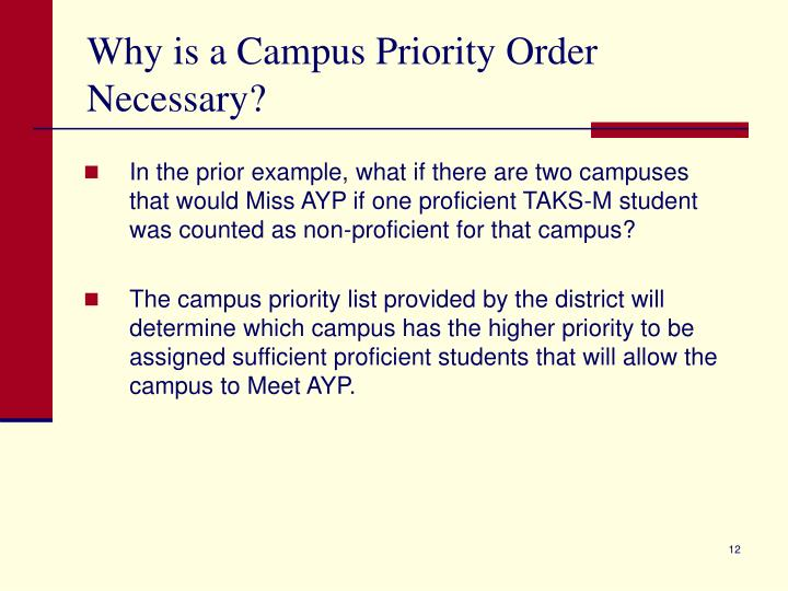 Why is a Campus Priority Order Necessary?