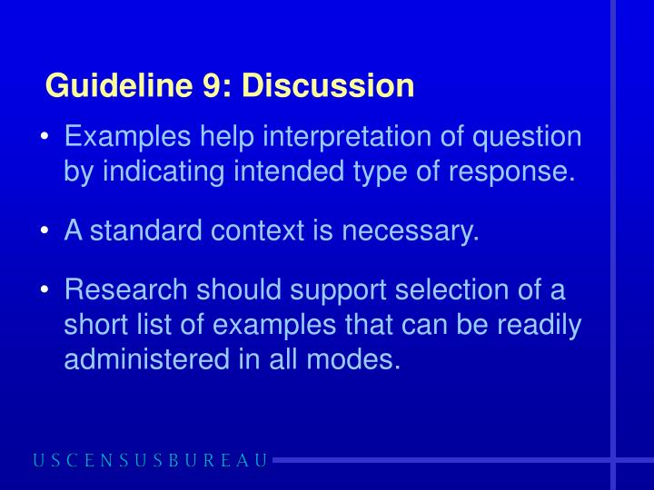 Guideline 9: Discussion