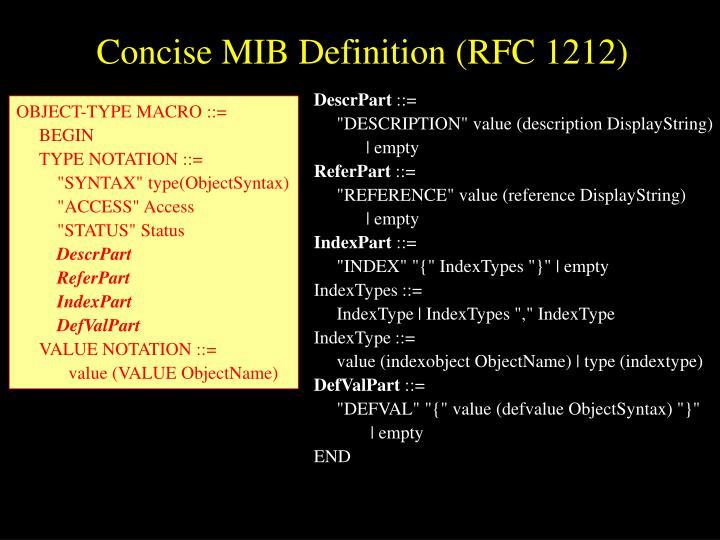Concise MIB Definition (RFC 1212)