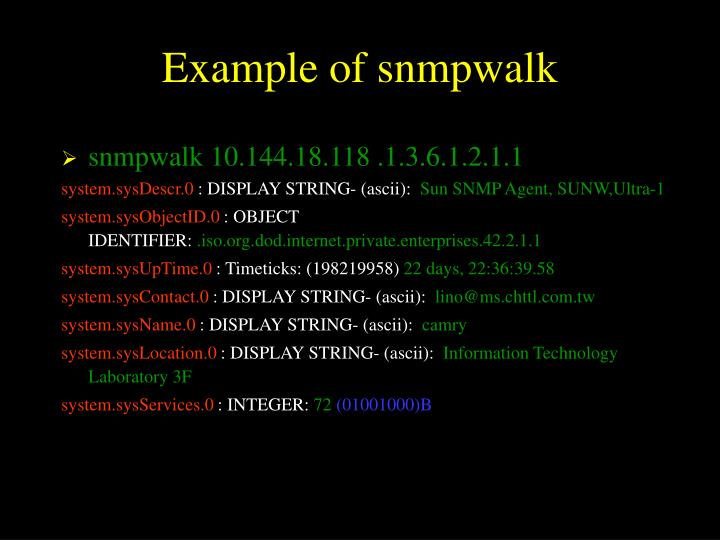 Example of snmpwalk