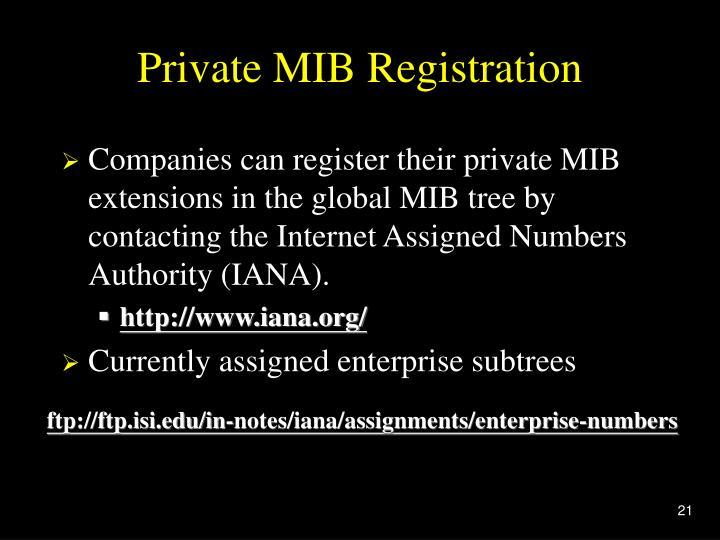 Private MIB Registration