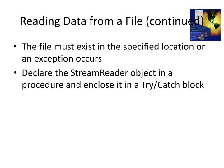 Reading Data from a File (continued)